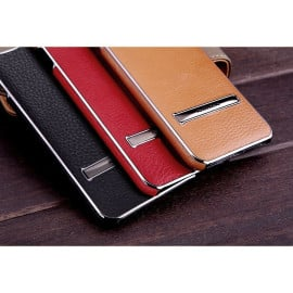 Nillkin ® Apple iPhone 8 Ultra-thin Leather with Electroplating + Inbuilt Click Metal Stand Back Cover