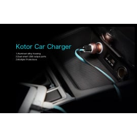 Rock ® Kotor Metallic Finish Dual-USB Fast Charging 2.4A LED Lit Car Charger