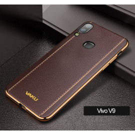 VAKU ® Vivo V9 Vertical Leather Stitched Gold Electroplated Soft TPU Back Cover
