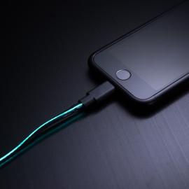 i-Love ® Visible Electricity Flowing LED EL Light Apple Lightning Port USB Sync Charging / Data Cable Black + Green