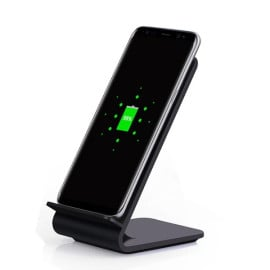 Vaku ® Qi Certified 15W Fast Charge Wireless Charger Stand Universally Compatible with Qi Enabled Smartphones, iPhone 12/12Pro/12Pro Max/11/11Pro-Black