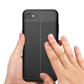 Vaku ® LG Q6 Kowloon Leather Stitched Edition Top Quality Soft Silicone 4 Frames + Ultra-Thin Back Cover