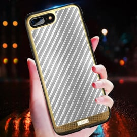 VAKU ® Apple iPhone 7 Plus Carbon Fibre with Golden Electroplated layering hard PC Back Cover