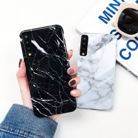 VAKU ® Samsung Galaxy A7 (2018) Sefa Stone Series with Marble and 9H hardness tempered Glass Back Cover
