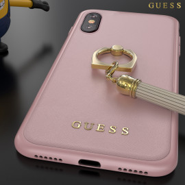 GUESS ® Apple iPhone XS Premium Luther Leather 2K Gold Electroplated + inbuilt ring stand + detachable Tassels Back Case