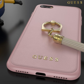 GUESS ® Apple iPhone SE 2020 Premium Luther Leather 2K Gold Electroplated + inbuilt ring stand + detachable Tassels Back Cover