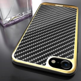 VAKU ® Apple iPhone 8 Carbon Fibre with Golden Electroplated layering hard PC Back Cover