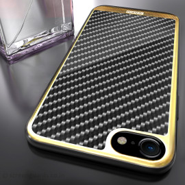 VAKU ® Apple iPhone 7 Carbon Fibre with Golden Electroplated layering hard PC Back Cover