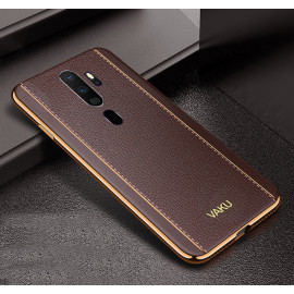 Vaku ® Oppo A9 2020 Vertical Leather Stitched Gold Electroplated Soft TPU Back Cover