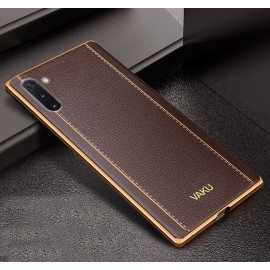 Vaku ® Samsung Galaxy Note 10 Vertical Leather Stitched Gold Electroplated Soft TPU Back Cover