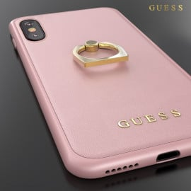 GUESS ® Apple iPhone X / XS Prama Paris Series Pure Leather 2K Gold Electroplated + inbuilt ring stand Back Case