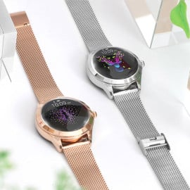 VAKU ® KW10 Fashionable Stainless Steel Waterproof IP68 Smartwatch with Psychological Reminder + Heartbeat Monitor + Step / Calorie Counter