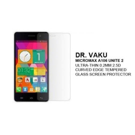 Dr. Vaku ® Micromax A106 Unite 2 Ultra-thin 0.2mm 2.5D Curved Edge Tempered Glass Screen Protector Transparent