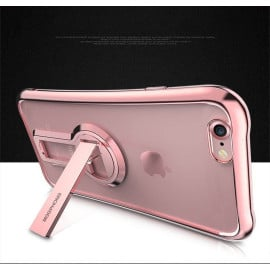 MeePhone ® For Apple iPhone 8 Metal Electroplated Bumper with FullView Transparent Finish + inbuilt Kickstand Back Cover