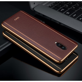 Vaku ® OnePlus 6T Vertical Leather Stitched Gold Electroplated Soft TPU Back Cover