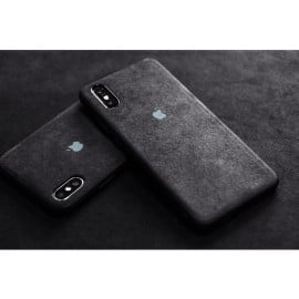 VAKU ® Apple iPhone XR Alcantara Super Suede Logo Leather Cover
