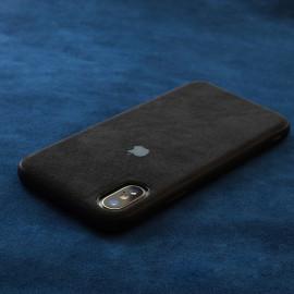 VAKU ® For Apple iPhone XS Max Alcantara Super Suede Logo Leather Cover