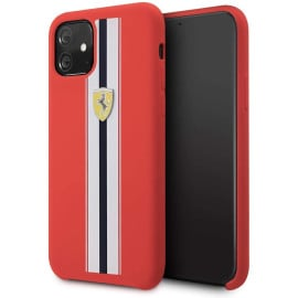 Ferrari ® Apple iPhone 11 White Stripe Liquid Silicon Velvet-Touch Silk Finish Shock-Proof Back Cover