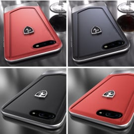 Ferrari ® Apple iPhone 8 Plus Moranello Series Luxurious Leather + Metal Case Limited Edition Back Cover