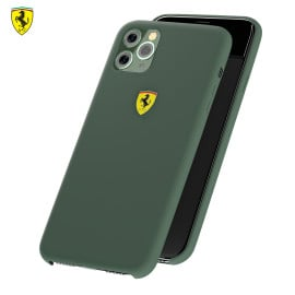 Ferrari ® Apple iPhone 11 Pro Max Liquid Silicon Velvet-Touch Silk Finish Shock-Proof Back Cover