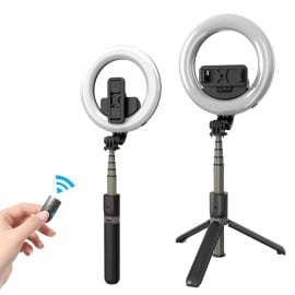Vaku ® Portable 16cm LED Ring Light Bluetooth Selfie Stick Tripod-with Inbuilt Remote