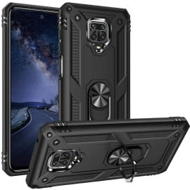 Vaku ® Xiaomi Redmi Note 9 Armor Ring Shock Proof Cover with Inbuilt Kickstand