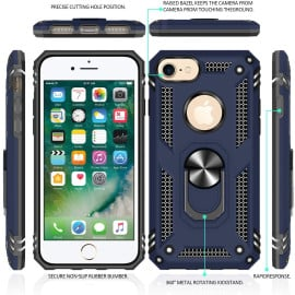 Vaku ® Apple iPhone 8 Armor Ring Shock Proof Cover with Inbuilt Kickstand