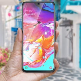 Dr. Vaku ® Samsung Galaxy A70 5D Curved Edge Ultra-Strong Ultra-Clear Full Screen Tempered Glass