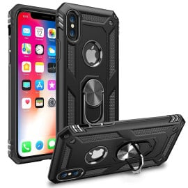 Vaku ® For Apple iPhone X / XS Armor Ring Shock Proof Cover with Inbuilt Kickstand