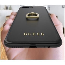 GUESS ® Apple iPhone 7 Plus Prama Paris Series Pure Leather 2K Gold Electroplated + inbuilt ring stand Back Case