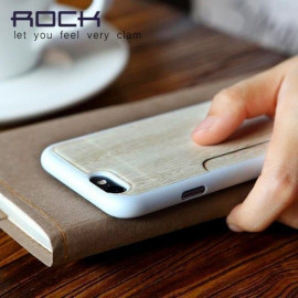 Rock ® Apple iPhone 6 / 6S Cana Series Thin Natural Wood Case with inbuilt Card Holder Back Cover