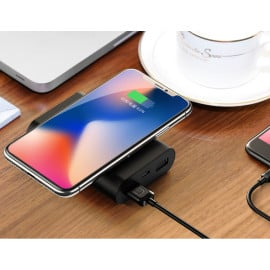 USMS ® Wire-less Charging PowerBank ABS Body With Digital Display High Power 8,000 mAh Dual-USB Output Power Bank