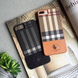 Santa Barbara Polo Club ® Apple iPhone 8 Plaide Series Chequered Design Elegant Faux Leather Back Cover