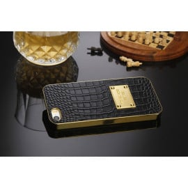 MK ® Apple iPhone 5 / 5S / SE Premium Crocodile Leather Gold Electroplated Back Cover