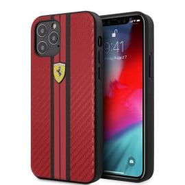 Ferrari ® Apple iPhone 12 Pro Max Portofino Carbon Vertical Stripe Case Backcover