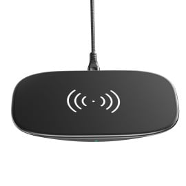 VAKU ® 15W Max Qi-Certified Fast Wireless Charging Matte Pad Compatible with iPhone 12/12Pro/12ProMax/11/11Pro/S21/S20Plus/etc. - Black