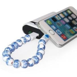 PMMA ® Amaozus Flower Printed Beads Bracelet Apple Lightning Port Charging / Data Cable