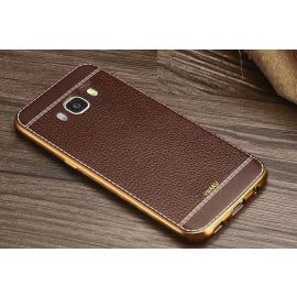 VAKU ® Samsung Galaxy A8 Leather Stitched Gold Electroplated Soft TPU Back Cover