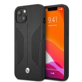 BMW ® For iPhone 13 Series Real Leather Perforated Seat Side Debossed Line Signature Collection Hard Case