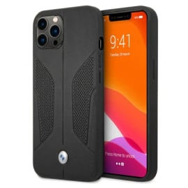 BMW ® For iPhone 13 Pro Max Real Leather Perforated Seat Side Debossed Line Signature Collection Hard Case - Black