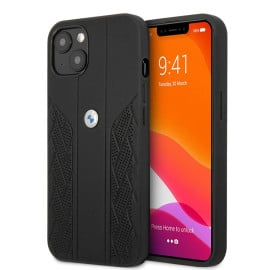 BMW ® For iPhone 13 Real Leather Perforated Seat Pattern Curved Stripes Signature Collection Back Cover - Black