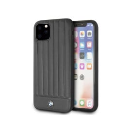 BMW ® For Apple iPhone 11 Pro Max Real Leather Textured Case with Hot Stamped Lines Back Cover - Black