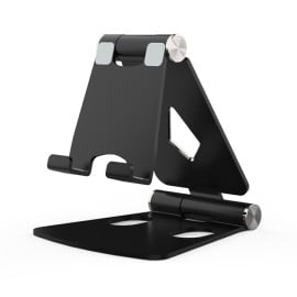 eller santé ® Mini Pocket-size Portable Aluminum Foldable Mobile/Tablet Stand Compatible with 4-12inch Smartphones ,iPad, Console - Black