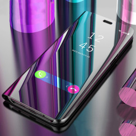 Vaku ® OnePlus 7 Mate Smart Awakening Mirror Folio Metal Electroplated PC Flip Cover