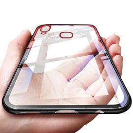 Vaku ® Vivo V9 GLASSINO Luxurious Edition Ultra-Shine Silicone Frame Ultra-Thin Case Transparent Back Cover
