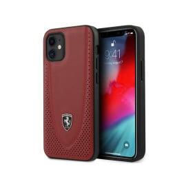 Scuderia Ferrari ® Apple iPhone 12 / 12 Pro Curved Line Stitched Leather Hard Case Backcover