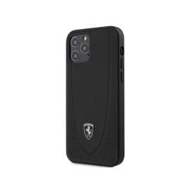 Scuderia Ferrari ® Apple iPhone 12 / 12 Pro / 12 Pro Max Curved Line Stitched Leather Hard Case Back Cover