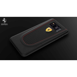 Ferrari ® Samsung S8 Plus Official 599 GTB Logo Double Stitched Dual-Material Pure Leather Back Cover
