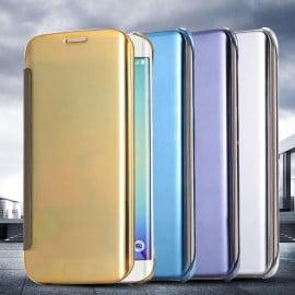 Vaku ® Samsung Galaxy E7 Mate Smart Awakening Mirror Folio Metal Electroplated PC Flip Cover