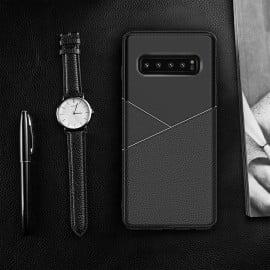 Vaku ® Samsung Galaxy S10 Plus Business Leather Pattern Soft TPU Back Cover